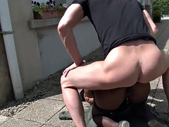 Young black slut fucked hard outdoor
