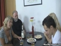 Her Vagina Gets Licked And also Fucked By Her Bf's Parents