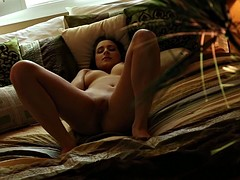 Charming Brunette In Solo On Sofa