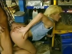Blonde Milf Cowgirl fucked in waffle stompers.