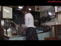 Eager mom Wanking Fingering Herself In The Kitchen