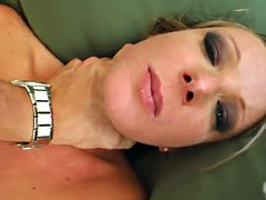 slutty blonde's fucked silly by muscular guys in a threesome