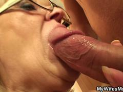 Older slut is tempted to taste and blow that big member and receive it between her legs in different poses from this hunk