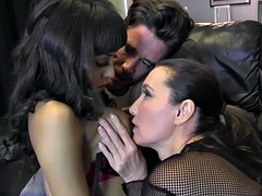 femdom strapon jane and big cock hunk have hardcore threesome spit roast horny ebony big tits slut