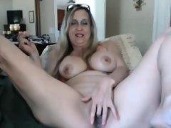 Horny mature masturbates on webcam