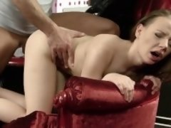 Lovely cutie opens up juicy pussy and gets deflowered