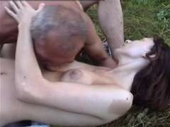 Grossest oldman screws Anorexic chick in the forest