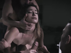 Shy 18-year-old girl Kristen Scott rough threesome
