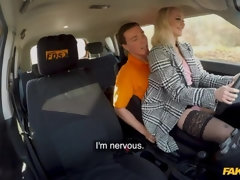 Miniature blonde in stockings Marilyn Sugar fucks with a driving school teacher