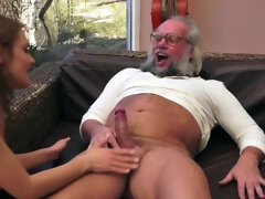 Nerdy old man welcomes a new neighbor girl using hard penis