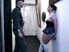 Old guy dominating submissive girl