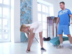 Yummy blonde Adelina tries very special anal workout