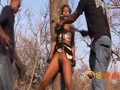 Hairy African slut got her cunt ravaged by white bulls