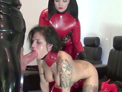 2 bi-otches In Red Latex Play With Each Other and Fuck dude