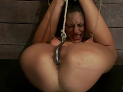Long legs, and huge nipples, suffers foot caning, finger fucking 'til squirting. Agony & Ecstasy !