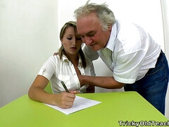 Amateur pigtailed Russian Teen with Tricky Old Grandpa Teacher