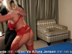 AJ wrestling in Fetish femdom - blonde mom with big fake tits
