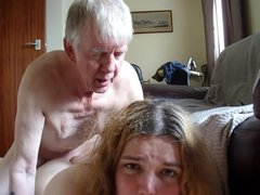 Old man roughly dominates over transgender blonde