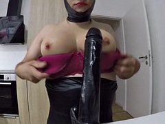 latex mask black big dildo