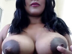 Exotic Brunette with Big black tits with big nipples on webcam - lactation fetish