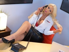 Beautiful blonde with big boobs Nicolette Shea takes a big cock