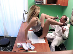 Doctor cums twice on lovely blonde
