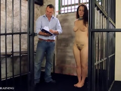 Caged submissive slave spanked in prison - BDSM fetish